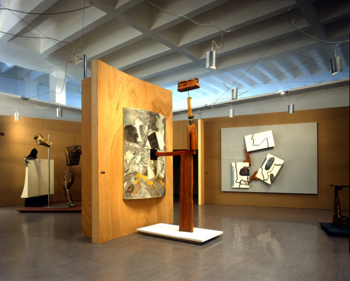 Display design of the exhibition Frederick Kiesler. Arte Architettura Ambiente at the Palazzo dell'Arte, Triennale, Milan, 1996. The central space with the work Goya. Photo: Giovanni Chiaramonte.