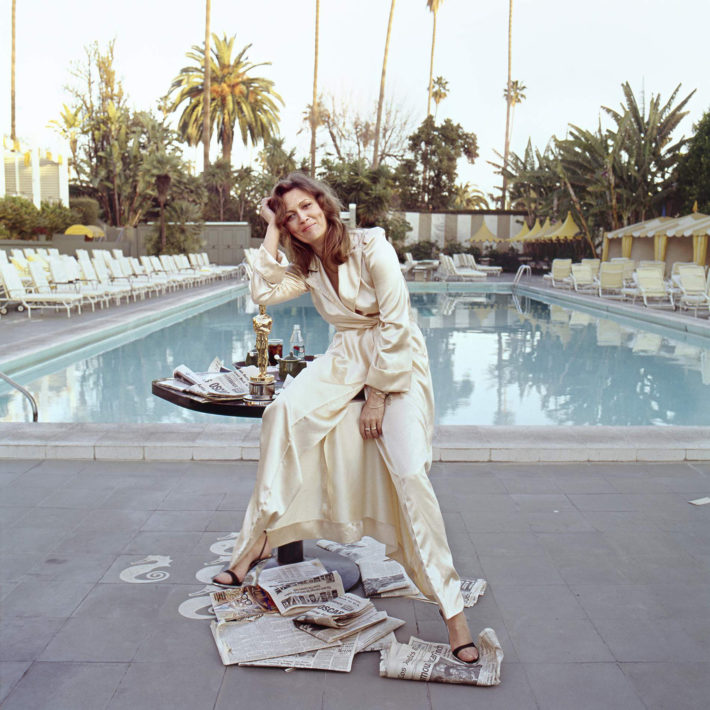 Faye Dunaway at the Beverly Hills Hotel on the morning of March 29, 1977, the day after winning the Oscar for Best Actress in Network, 1976, directed by Sidney Lumet. Photo: Terry O'Neill. © Terry O'Neill/Iconic Images/Getty Images.