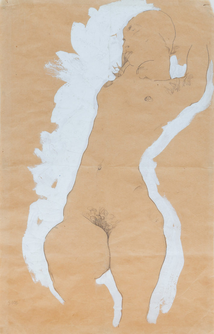 Egon Schiele,Mädchenakt mit weisser Umrandung(Female Nude with White Border), 1911.Gouache and pencil on paper. Collection of Johan H. Andresen Picture: © Christian Øen.