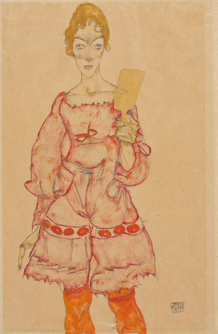 Egon Schiele,Woman with Mirror, 1915. Gouache and pencil on paper. Tel Aviv Museum of Art Collection, c. 1953. Picture: © Elad Sarig.