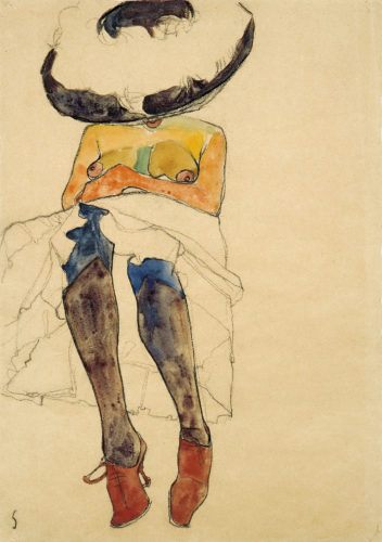 Egon Schiele, Seated Semi-Nude with Hat and Purple Stockings (Gerti), 1910. Charcoal and watercolor on paper. Private collection. Courtesy of W&K – Wienerroither & Kohlbacher, Vienna Picture: Courtesy W&K - Wienerroither & Kohlbacher.