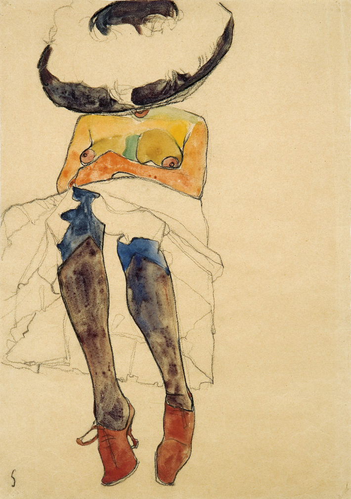Egon Schiele,Seated Semi-Nude with Hat and Purple Stockings(Gerti), 1910. Charcoal and watercolor on paper. Private collection. Courtesy of W&K – Wienerroither & Kohlbacher, Vienna Picture: Courtesy W&K - Wienerroither & Kohlbacher.