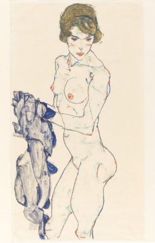 Egon Schiele, Weiblicher Akt mit blauem Tuch (Standing Female Nude with Blue Cloth), 1914. Gouache, watercolor, and graphite on vellum paper. Germanisches Nationalmuseum, Nuremberg Picture: © Germanisches Nationalmuseum, Nürnberg.