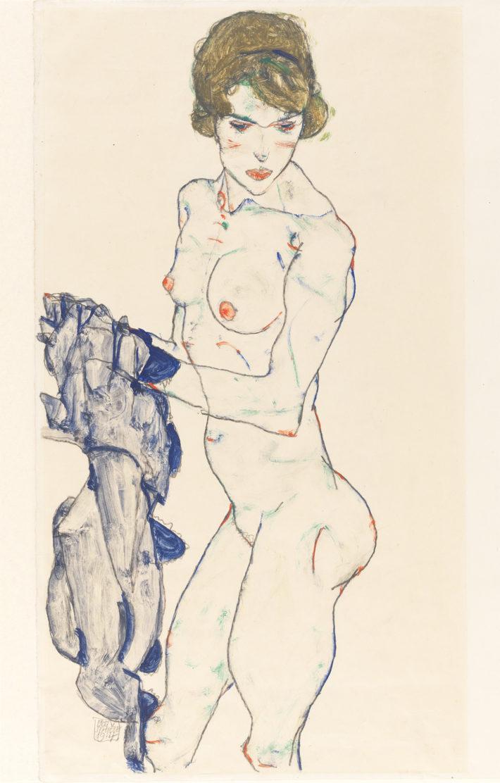 Egon Schiele,Weiblicher Akt mit blauem Tuch(Standing Female Nude with Blue Cloth), 1914.Gouache, watercolor, and graphite on vellum paper. Germanisches Nationalmuseum, Nuremberg Picture: © Germanisches Nationalmuseum, Nürnberg.