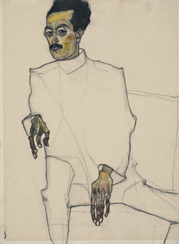 Egon Schiele. Portrait of Doctor X, 1910. Black crayon and watercolor on paper. Wadsworth Atheneum Museum of Art, Hartford, Connecticut, The Ella Gallup Sumner and Mary Catlin Sumner Collection Fund Picture: © Allen Phillips / Wadsworth Athemuseum.