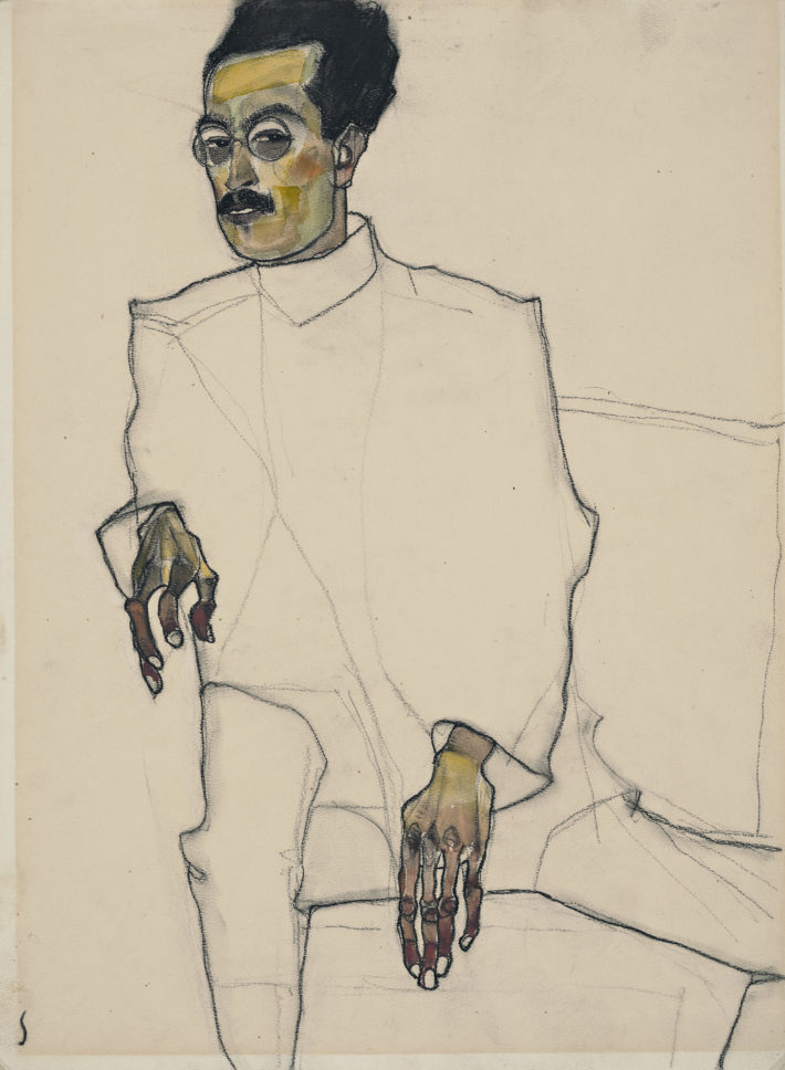 Egon Schiele.Portrait of Doctor X, 1910. Black crayon and watercolor on paper. Wadsworth Atheneum Museum of Art, Hartford, Connecticut, The Ella Gallup Sumner and Mary Catlin Sumner Collection Fund Picture: © Allen Phillips / Wadsworth Athemuseum.