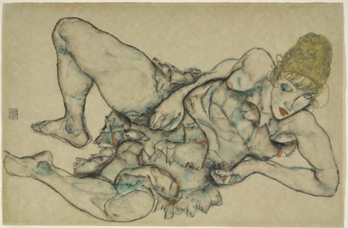 Egon Schiele,Liegende Frau mit blondem Haar(Reclining Woman with Blonde Hair), 1914.Transparent and opaque watercolor over graphite on paper. The Baltimore Museum of Art, Fanny B. Thalheimer Memorial Fund and Friends of Art Fund. Picture: © Mitro Hood.