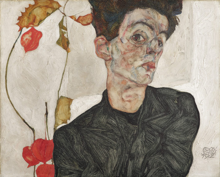 Egon Schiele,Selbstbildnis mit Lampionfrüchten(Self-Portrait with Chinese Lantern Plant), 1912.Oil and gouache on wood. Leopold Museum, Vienna Picture: © Leopold Museum, Vienne.