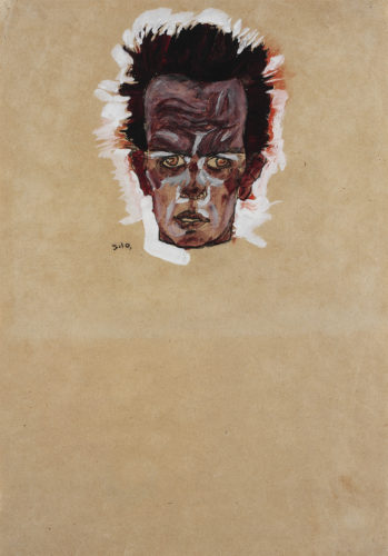 Egon Schiele,Selbstbildnis, Kopf(Self-Portrait, Head), 1910.Gouache, watercolor, and charcoal on paper. Ömer Koç Picture: © Hadiye Cangókçe.