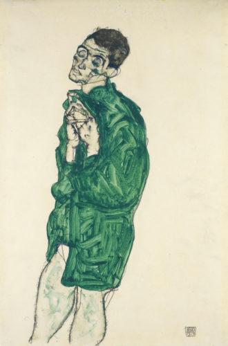 Egon Schiele, Selbstdarstellung in grünem Hemd mit geschlossenen Augen (Self-Portrait in Green Shirt with Eyes Closed), 1914. Gouache and pencil on paper. Private collection. Picture: Wikimedia Commons.