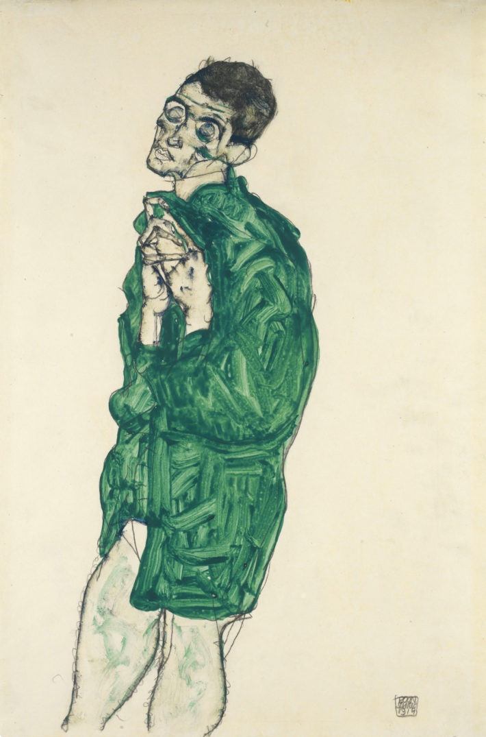 Egon Schiele,Selbstdarstellung in grünem Hemd mit geschlossenen Augen(Self-Portrait in Green Shirt with Eyes Closed), 1914. Gouache and pencil on paper. Private collection.Picture: Wikimedia Commons.
