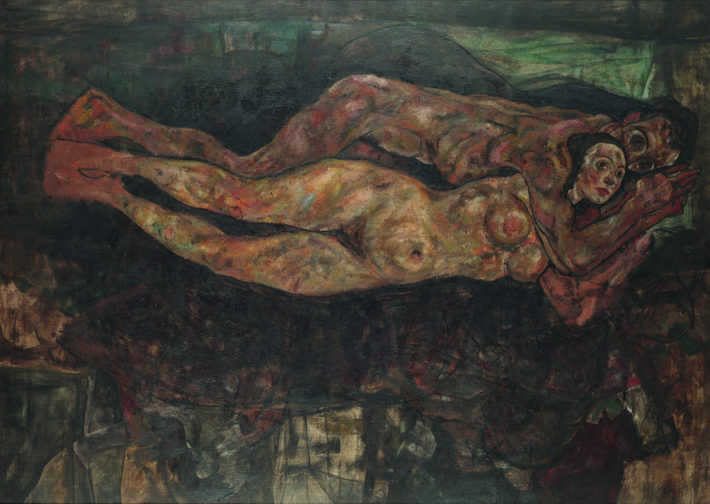 Egon Schiele,Liebespaar(Lovers), 1918 (unfinished). Oil on canvas. Private collection, Leopold. Picture: Courtesy of Private collection, Leopold.