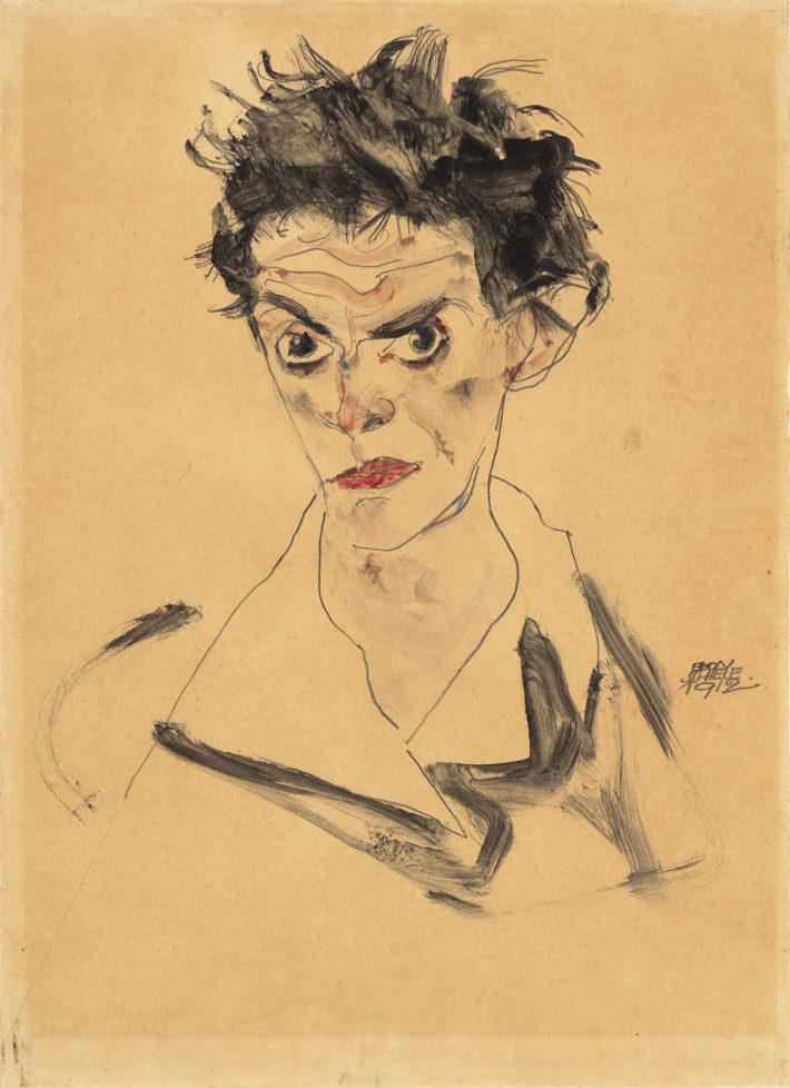 Egon Schiele,Selbstbildis(Self-Portrait), 1912. Watercolor over graphite on light brown wove japan paper. National Gallery of Art, Washington. Gift of Hildegard Bachert in memory of Otto Kallir, 1997. Picture: Courtesy National Gallery of Art, Washington.