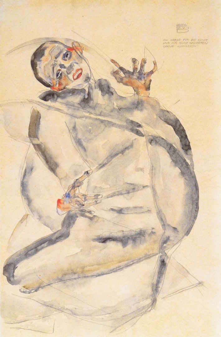 Egon Schiele, Ich werde für die Kunst und meine Geliebten gerne ausharren (I Will Gladly Endure for Art and My Loved Ones), 1912. Brush, watercolor, pencil, on Japan paper. Albertina, Vienna. Picture: Wikimedia Commons.