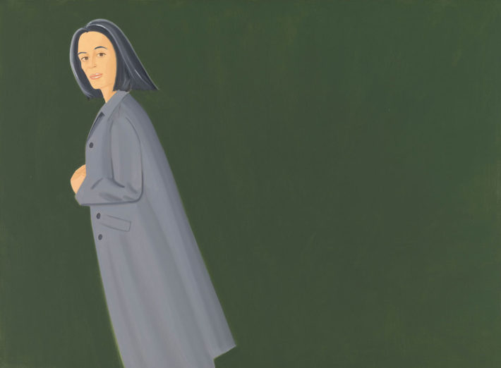 Alex Katz, Grey Coat, 1997, olio su tela. © Alex Katz, VG Bild-Kunst, Bonn 2018, Courtesy Udo and Anette Brandhorst Collection. Foto: Haydar Koyupinar, Bayerische Staatsgemäldesammlungen, Monaco di Baviera.