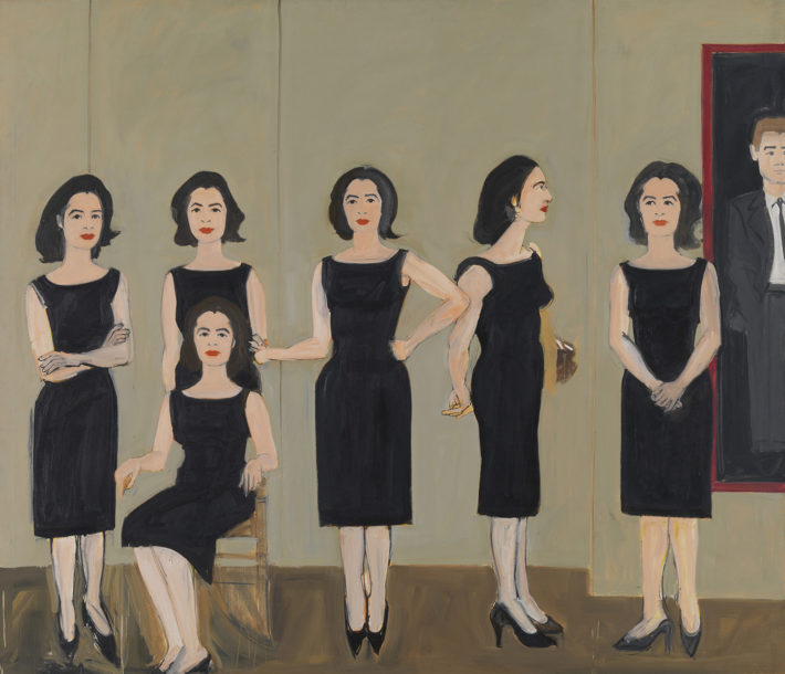 Alex Katz, The Black Dress, 1960, olio su tela. © Alex Katz, VG Bild-Kunst, Bonn 2018, Courtesy Udo and Anette Brandhorst Collection. Foto: Haydar Koyupinar, Bayerische Staatsgemäldesammlungen, Monaco di Baviera.
