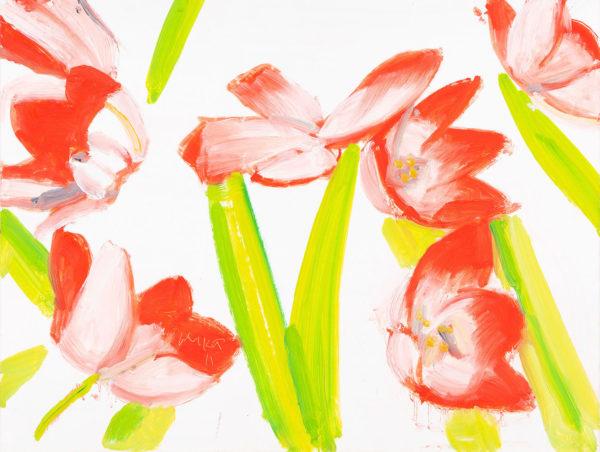 Alex Katz, Flowers 3, 2011, olio su tavola. © Alex Katz, VG Bild-Kunst, Bonn 2018, collezione privata. Foto: Andreas Pauly.
