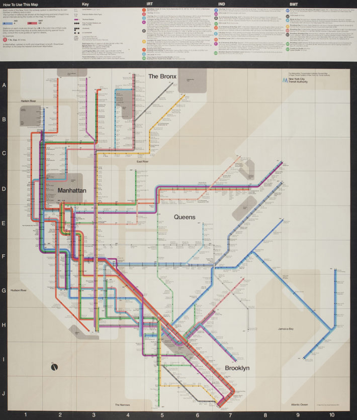 New York Subway map, 1970. Photo: Reven T.C. Wurman. Design: Vignelli 1954-2014, © 2018 Rizzoli International Publications, New York, and Beatriz Cifuentes-Caballero.