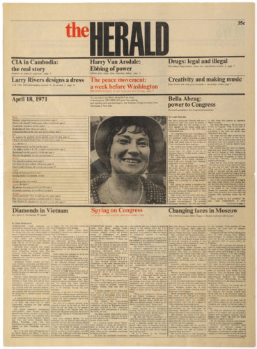 Layout del giornale The Herald, New York, 1971.