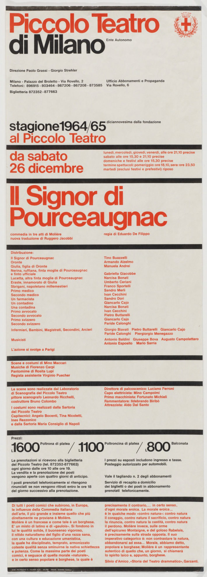 Massimo Vignelli, Piccolo Teatro di Milano, 1964. © The Museum of Modern Art / Licensed by SCALA / Art Resource, NY.