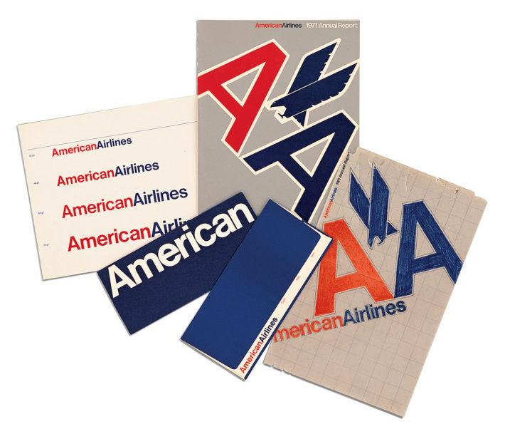American Airlines, corporate identity, 1967. Design: Vignelli 1954-2014, © 2018 Mondadori Electa, Milan, and Beatriz Cifuentes-Caballero.