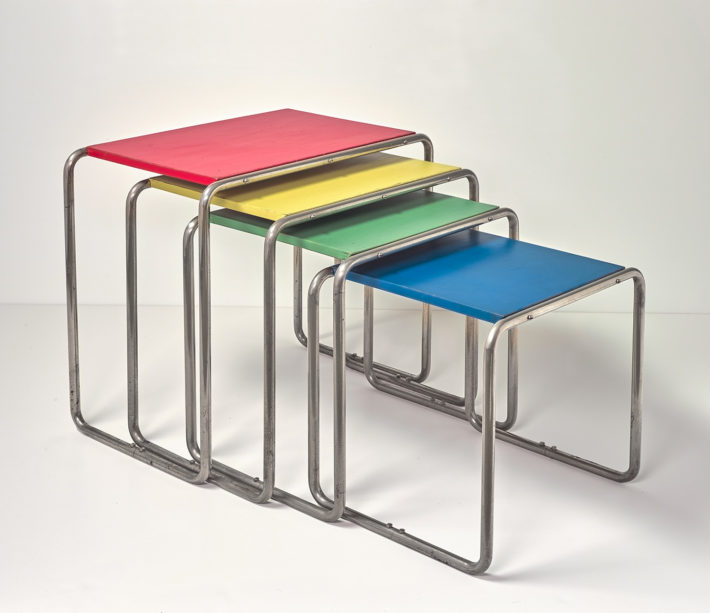 Marcel Breuer, Four side tables, c. 1926, nickel-plated metal, painted wood. Private Collection, Germany.