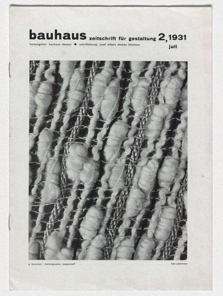 Cover of Bauhaus: Zeitschrift für Gestaltung 2, 1931, with photo of woven fabric by Margaret Leischner. Private collection, the Netherlands.