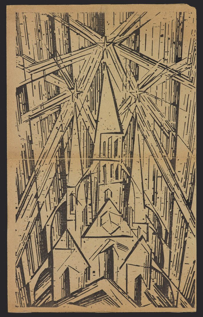 Walter Gropius (author) and Lyonel Feininger (cover design), Programm des Staatlichen Bauhauses in Weimar, April 1919, woodcut. Private collection, the Netherlands.