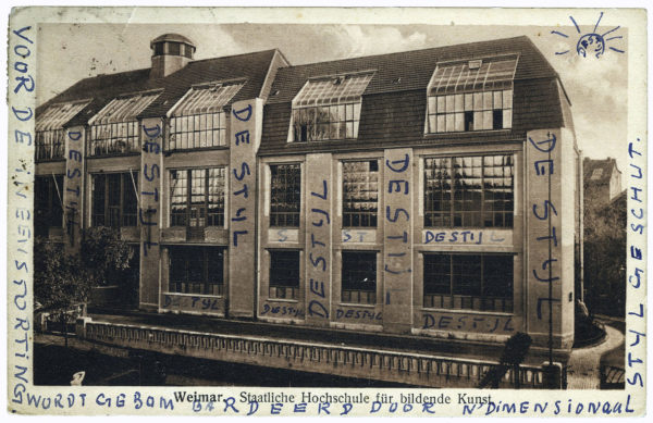 Postcard with a picture of the Bauhaus in Weimar, written by Theo van Doesburg and sent to his friend Antony Kok, September 21, 1921. RKD – Netherlands Institute for Art History, The Hague (Archive of Theo and Nelly van Doesburg).