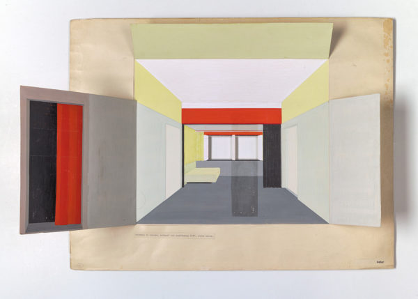 Peter Keler, Apartment in Weimar, design and execution, 1927, gouache on paper. Private collection, the Netherlands.