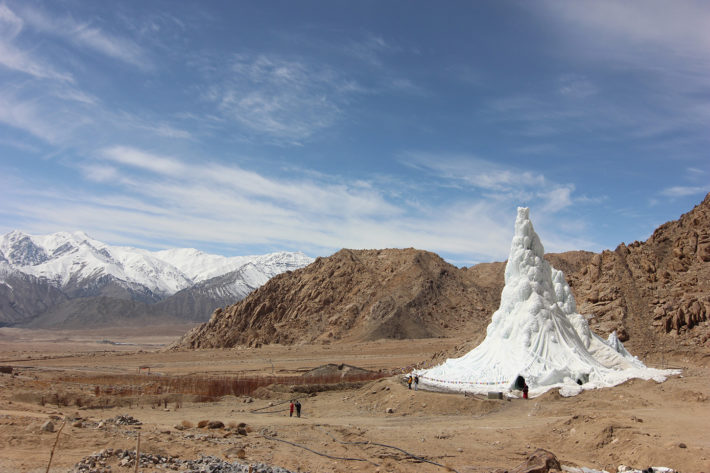 Sonam Wangchuk of the Students' Educational and Cultural Movement of Ladakh (SECMOL), with Sonam Dorje and Simant Verma, Ice Stupa, artificial glacier, 2013-14. Photo: © Lobzang Dadul. Courtesy SECMOL.