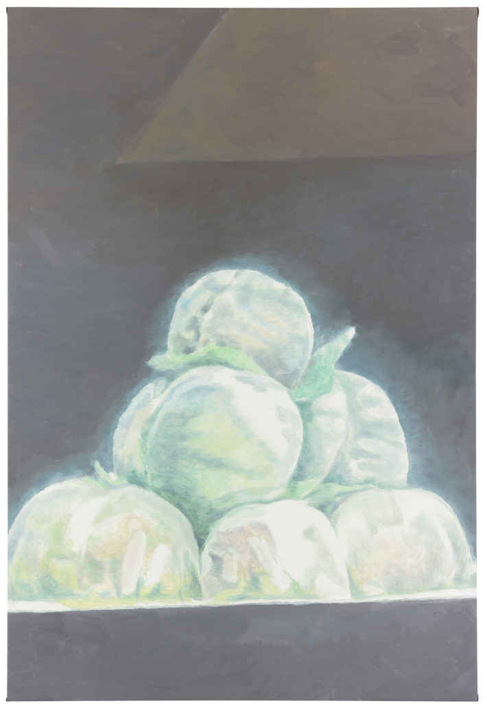 Luc Tuymans, Peaches, 2012, oil on canvas, private collection. Courtesy David Zwirner, New York/London. Photo: Studio Luc Tuymans, Antwerp.
