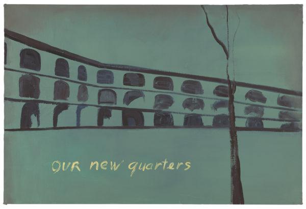 Luc Tuymans, Our New Quarters, 1986, olio su tela, MMKMuseum für Moderne Kunst Frankfurt am Main. Regalo dell'artista. Courtesy David Zwirner, New York/London. Foto: Ben Blackwell.