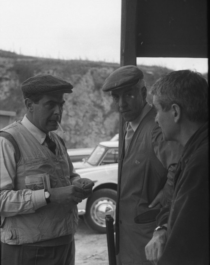 From left to right: Giuseppe Loy, Afro Basaldella and Alberto Burri at the clay shooting range on the Via Tiberina, Rome, 1967. Photo: unknown photographer, © Archivio Giuseppe Loy.